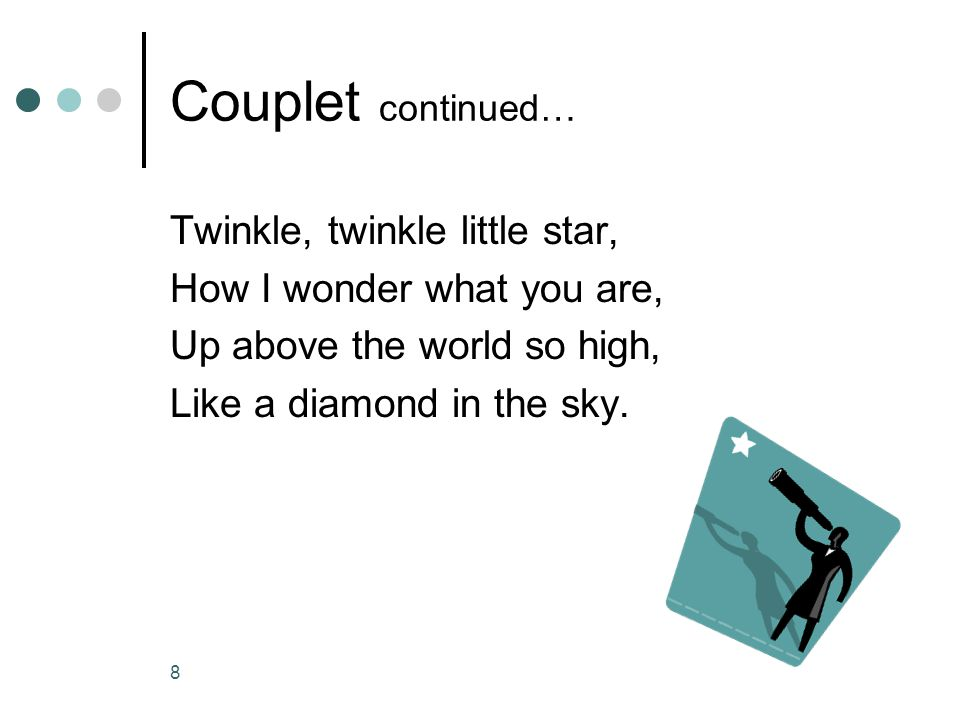 Couplet continued… Twinkle, twinkle little star,