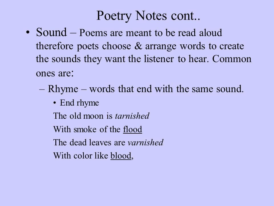 Poetry Notes cont..