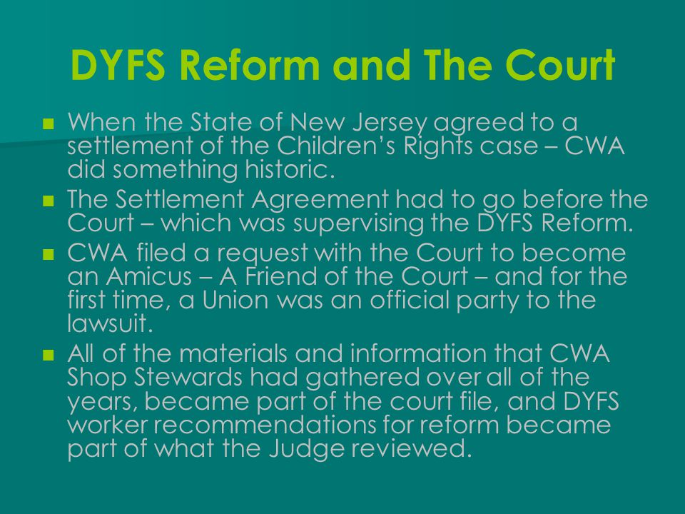 DYFS Reform and The Court