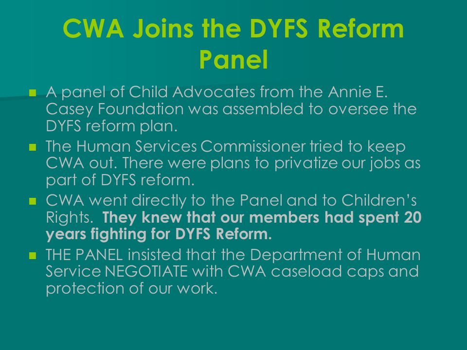 CWA Joins the DYFS Reform Panel