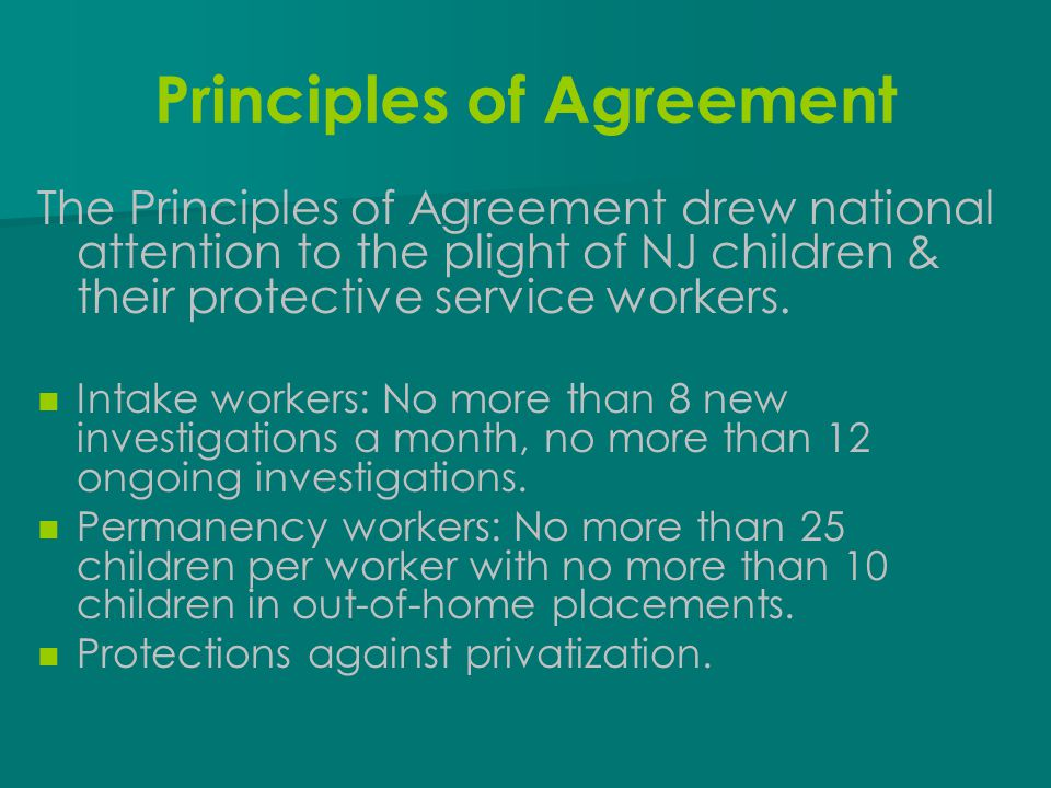 Principles of Agreement