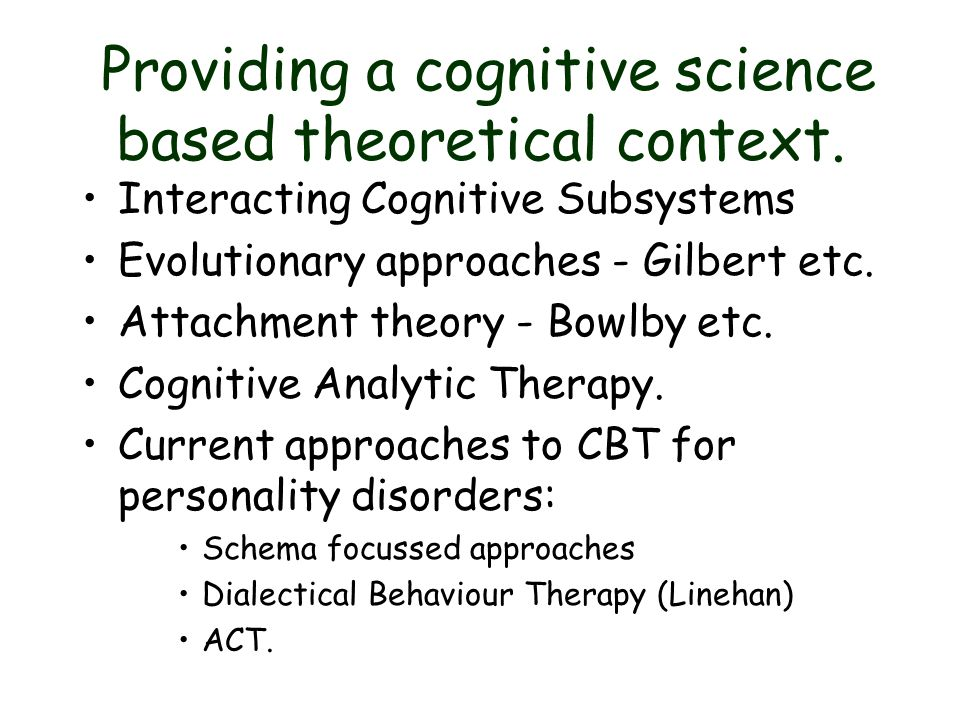 Providing a cognitive science based theoretical context.
