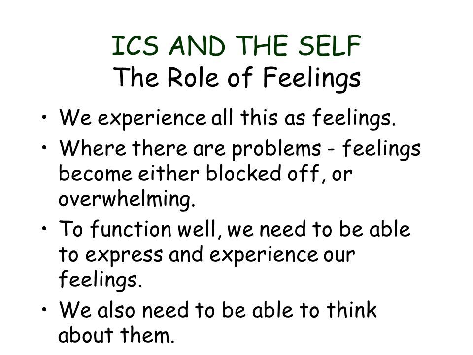 ICS AND THE SELF The Role of Feelings