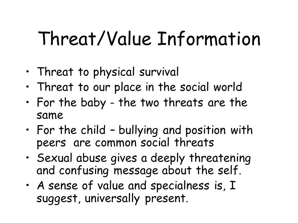Threat/Value Information