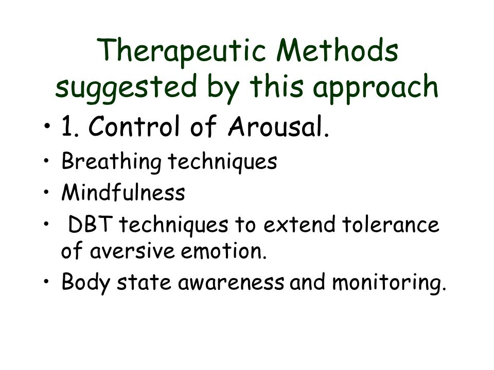 Therapeutic Methods suggested by this approach