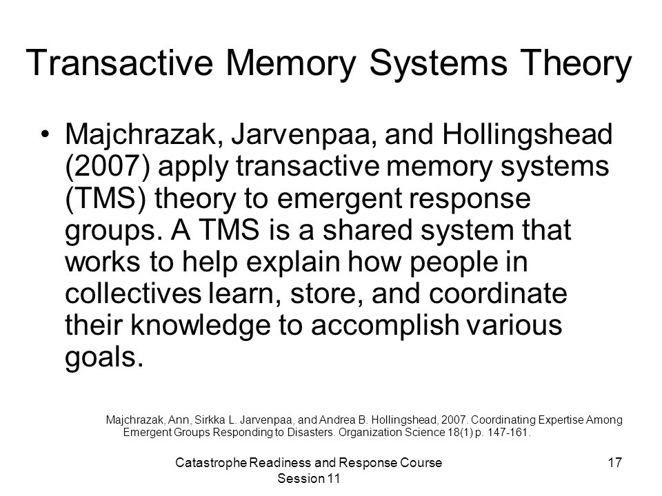 Transactive Memory Systems Theory