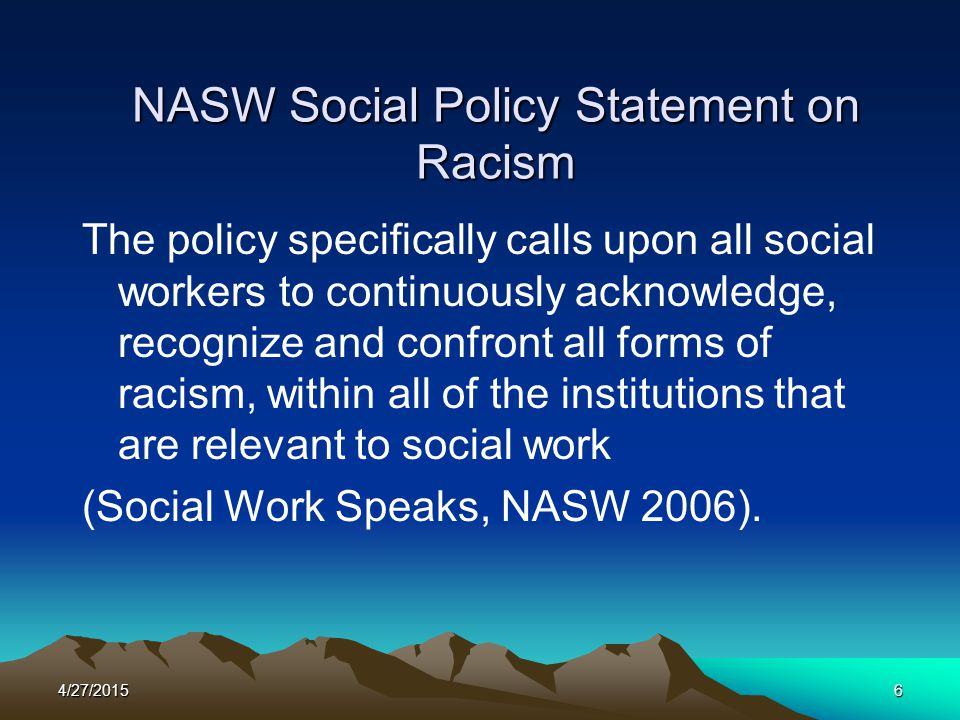 NASW Social Policy Statement on Racism