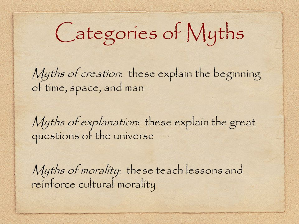 Categories of Myths Myths of creation: these explain the beginning of time, space, and man.