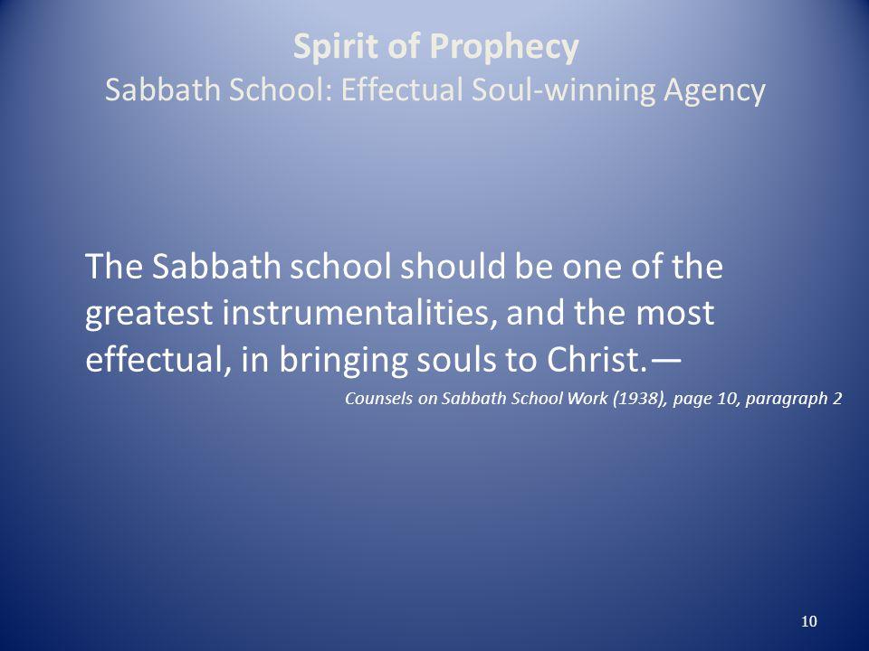 Spirit of Prophecy Sabbath School: Effectual Soul-winning Agency