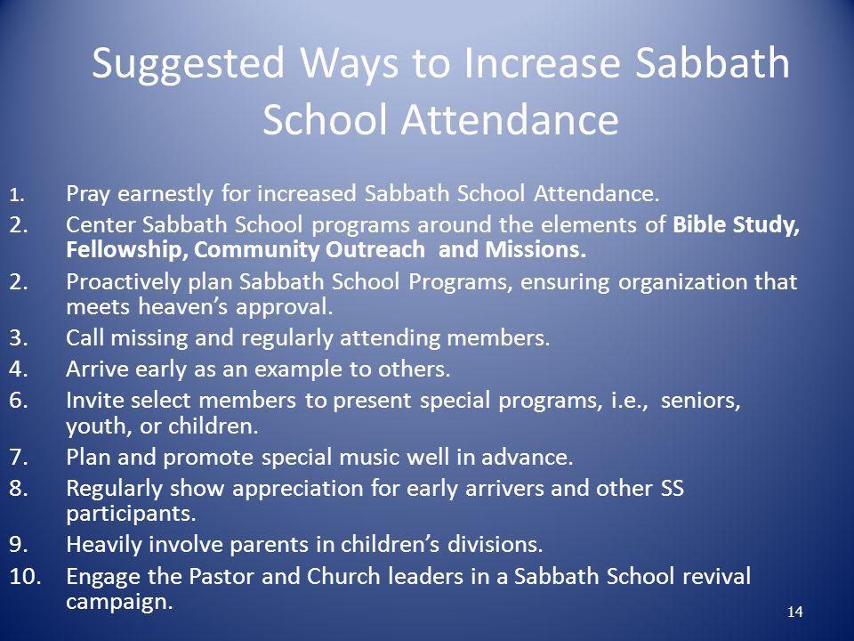 Suggested Ways to Increase Sabbath School Attendance