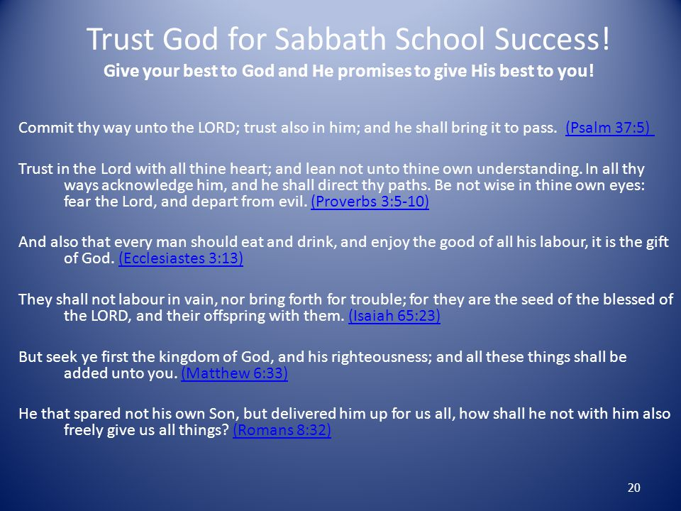 Trust God for Sabbath School Success