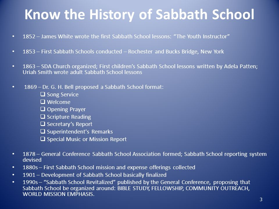 Know the History of Sabbath School