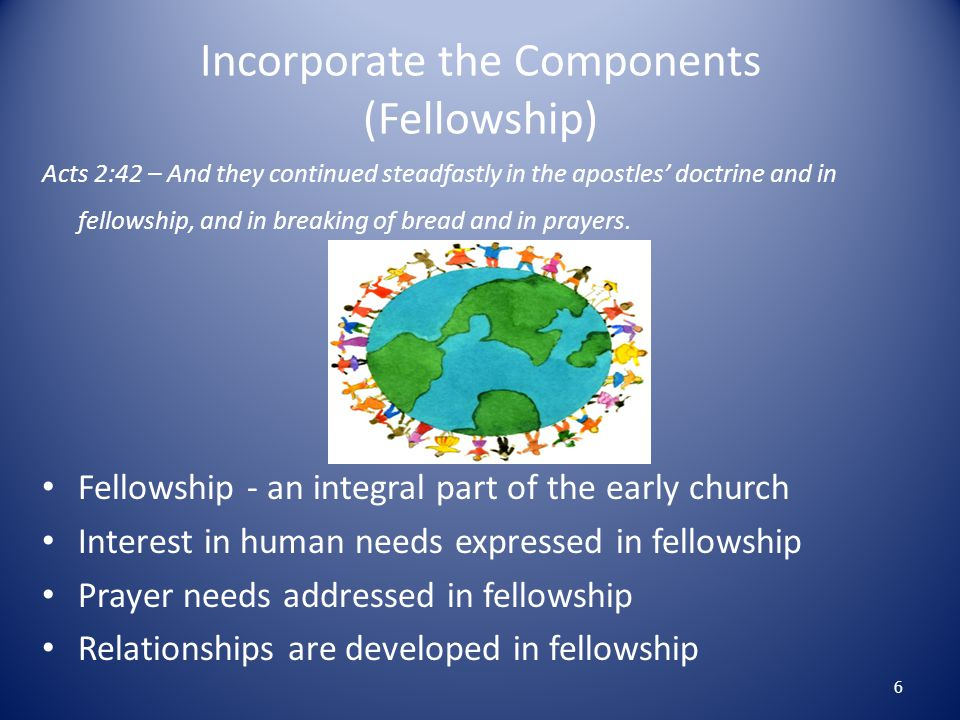 Incorporate the Components (Fellowship)