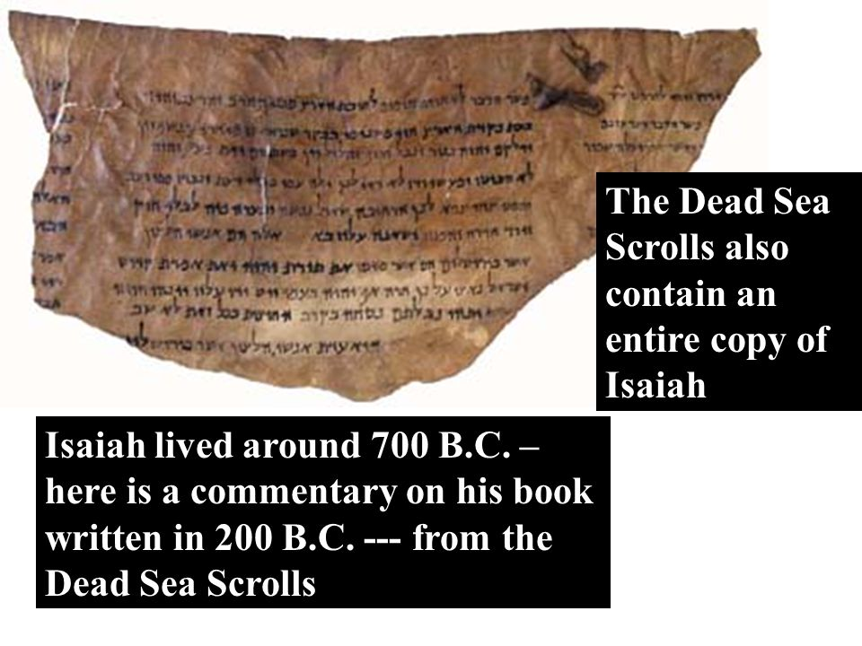 The Testimony The Dead Sea Scrolls also contain an entire copy of Isaiah.