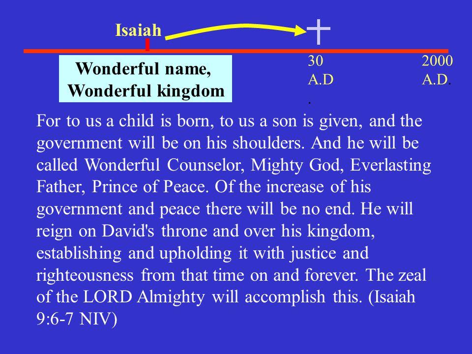 Wonderful name, Wonderful kingdom