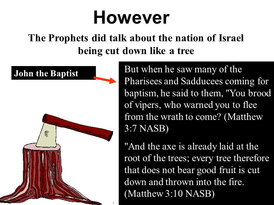 However The Prophets did talk about the nation of Israel being cut down like a tree.