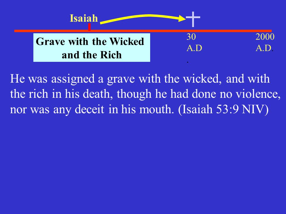 Isaiah 30 A.D. 2000 A.D. 700 B.C.. Grave with the Wicked. and the Rich.