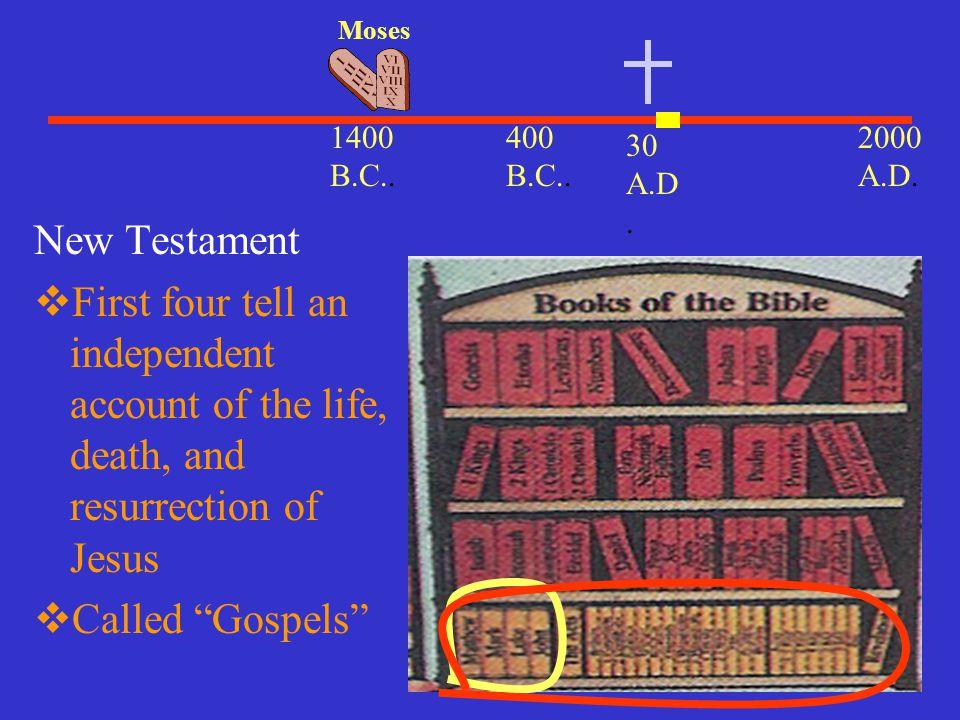 Moses 1400 B.C.. 400 B.C.. 2000 A.D. 30 A.D. New Testament.