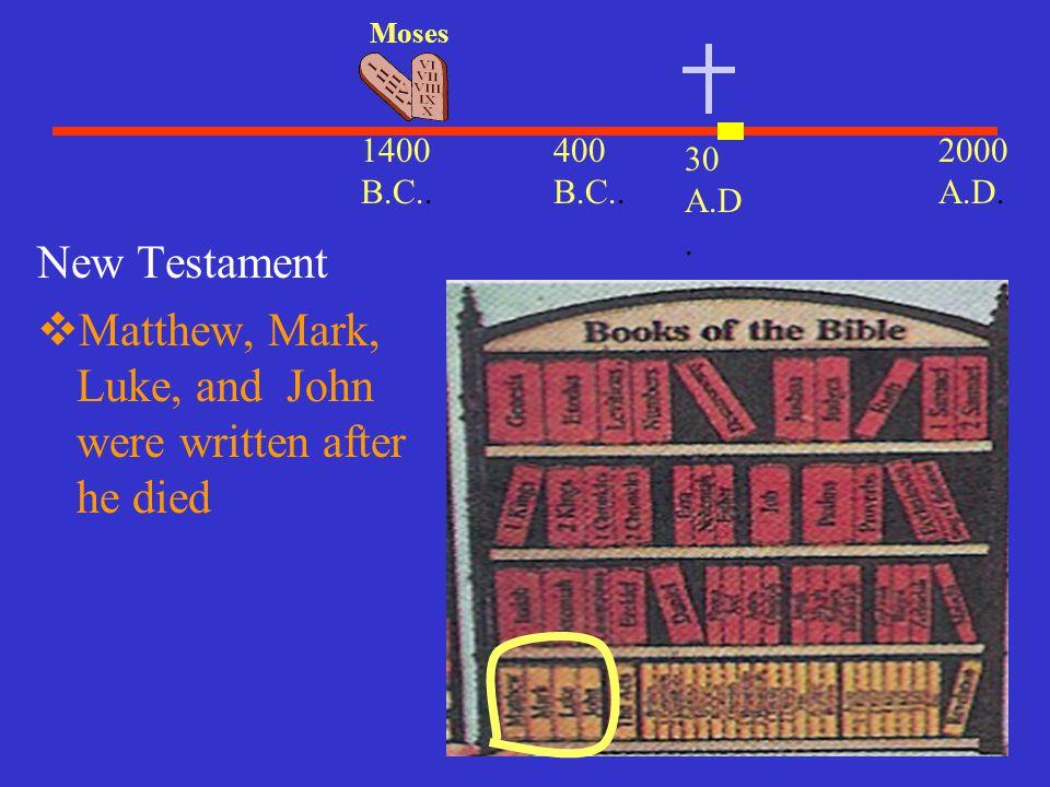 Matthew, Mark, Luke, and John were written after he died