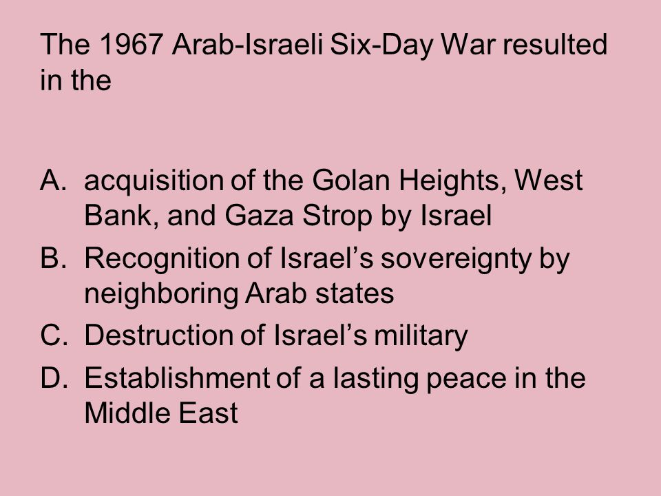 The 1967 Arab-Israeli Six-Day War resulted in the