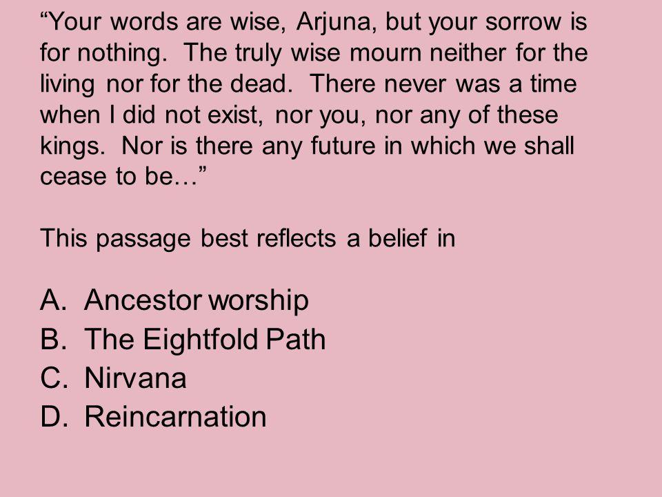 Ancestor worship The Eightfold Path Nirvana Reincarnation