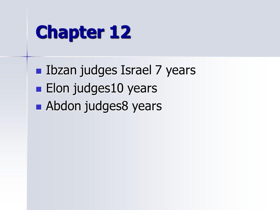 Chapter 12 Ibzan judges Israel 7 years Elon judges10 years