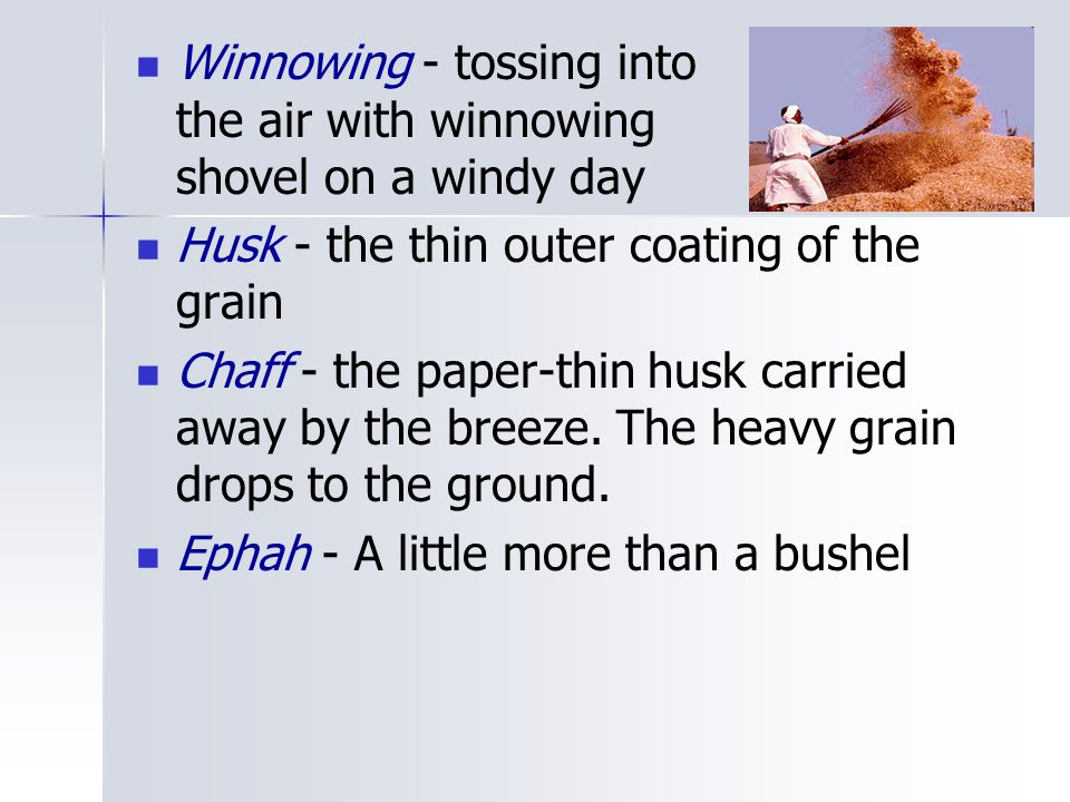 Winnowing - tossing into the air with winnowing shovel on a windy day