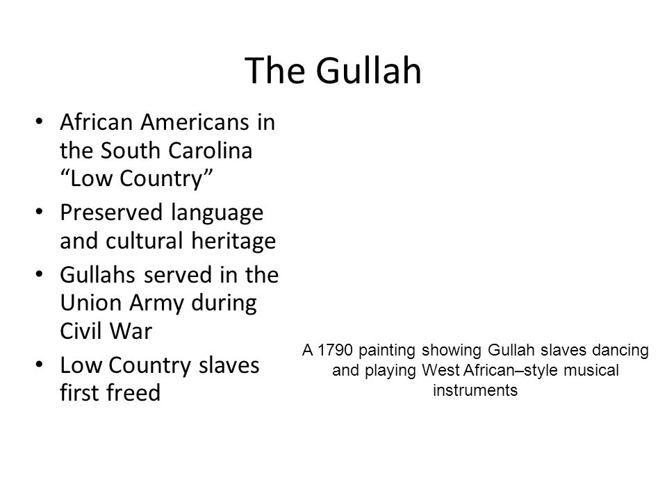 The Gullah African Americans in the South Carolina Low Country
