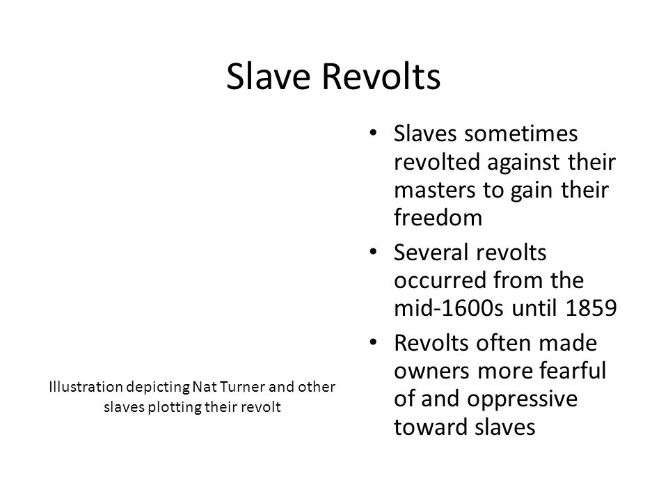 Slave Revolts Slaves sometimes revolted against their masters to gain their freedom. Several revolts occurred from the mid-1600s until 1859.