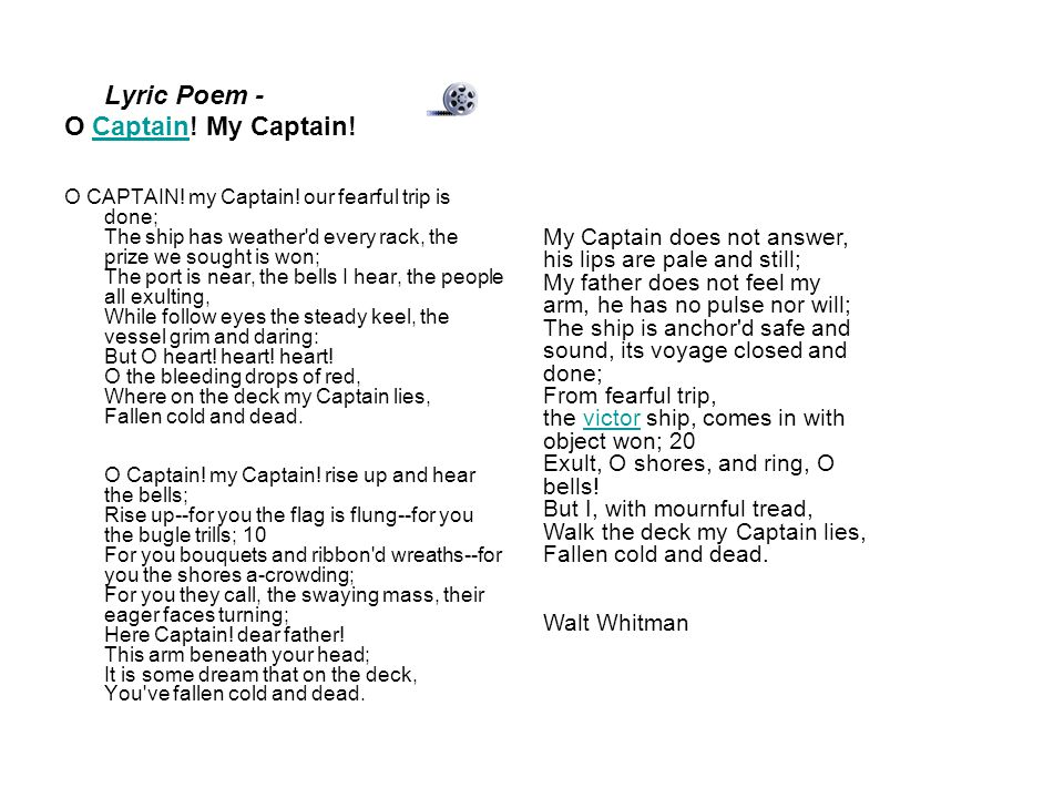 poetry dead poet s society your own voice ppt video  lyric poem o captain my captain