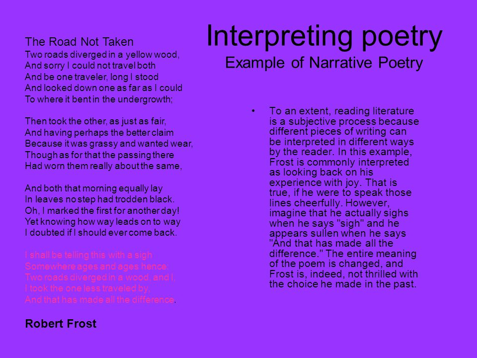 Interpreting poetry Example of Narrative Poetry