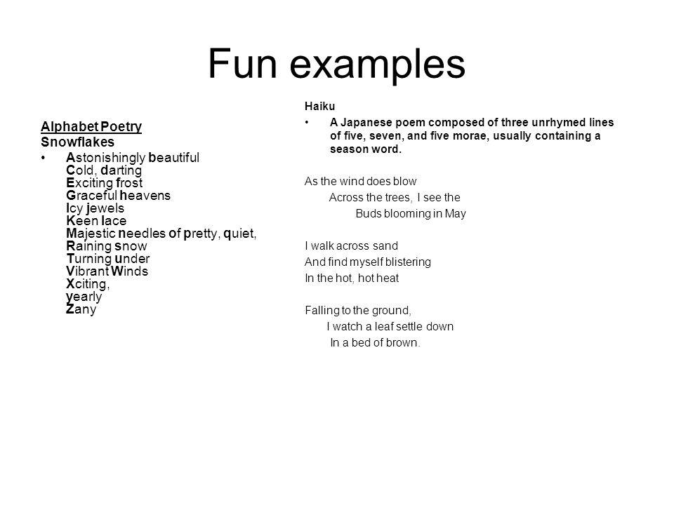 Fun examples Alphabet Poetry Snowflakes
