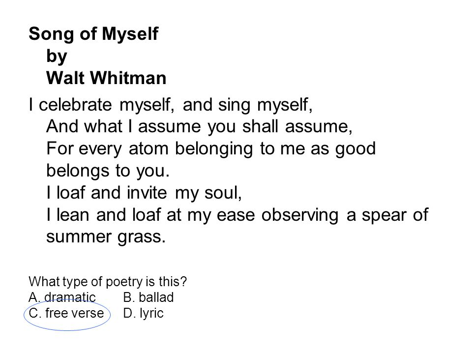 Free Whitman Song of Myself Essays and Papers
