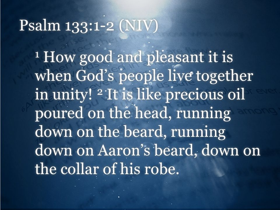 Psalm 133:1-2 (NIV)