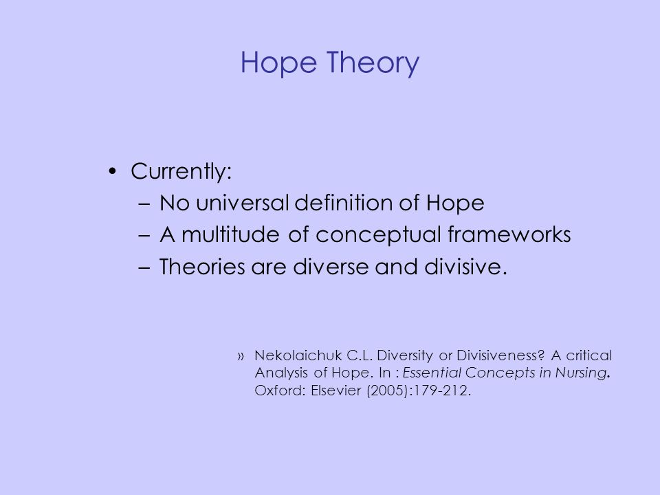 Hope Theory Currently: No universal definition of Hope