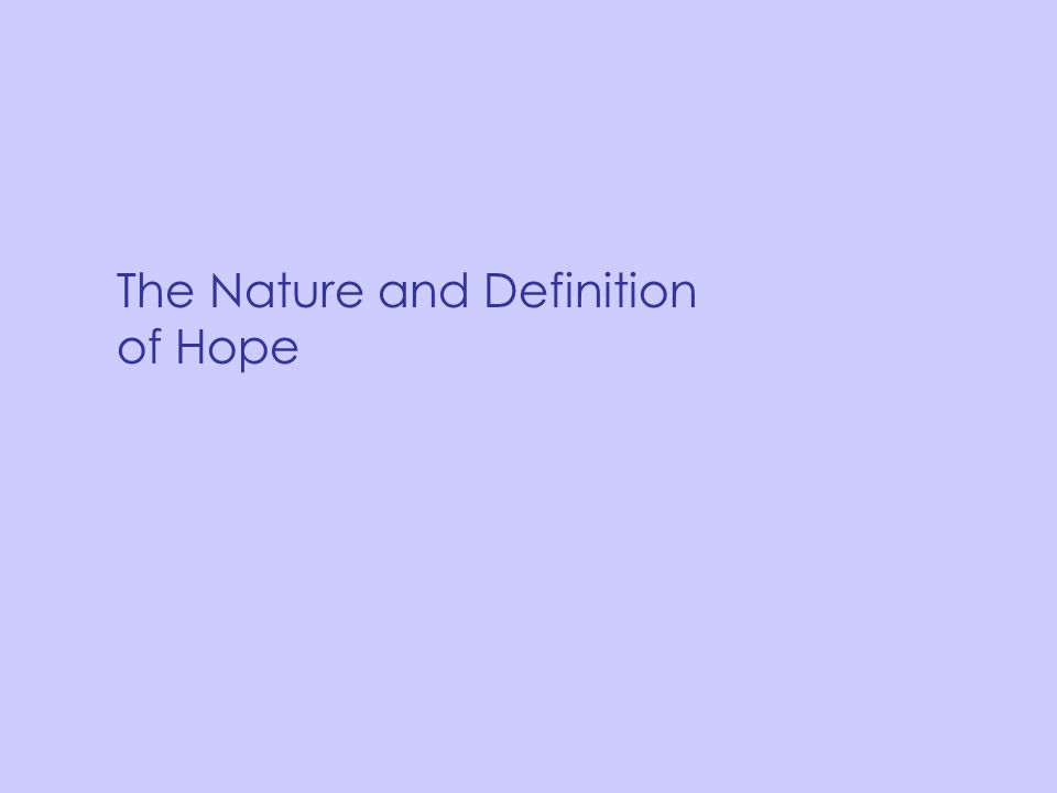 The Nature and Definition