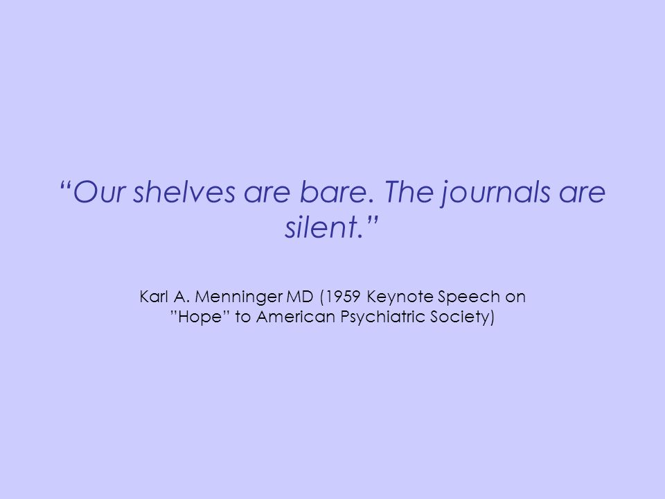 Our shelves are bare. The journals are silent.