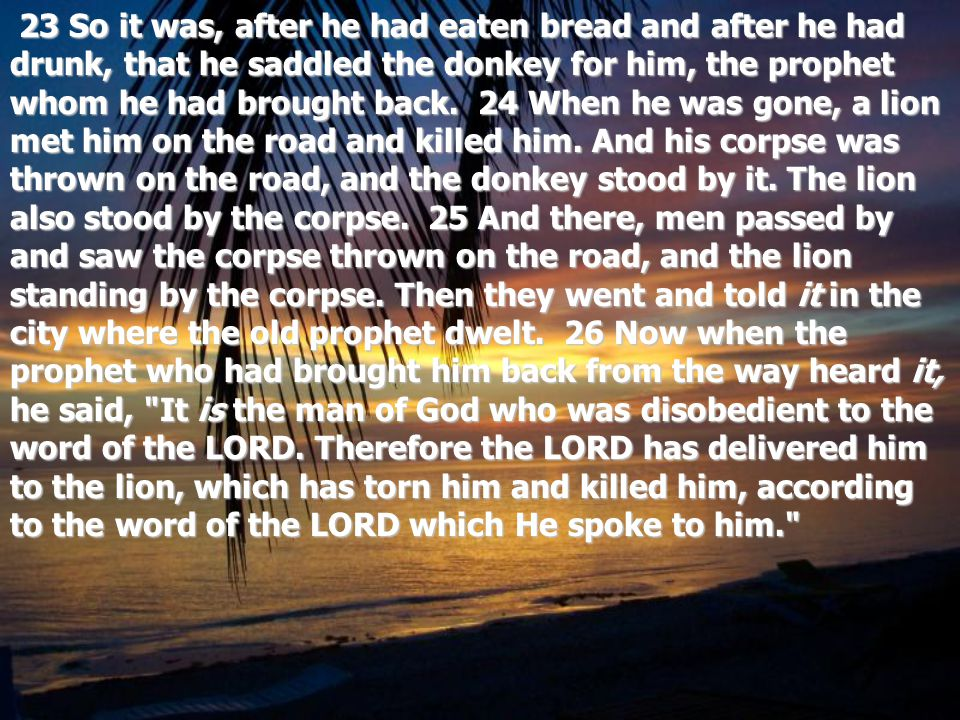 23 So it was, after he had eaten bread and after he had drunk, that he saddled the donkey for him, the prophet whom he had brought back.