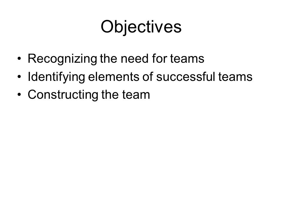 Objectives Recognizing the need for teams