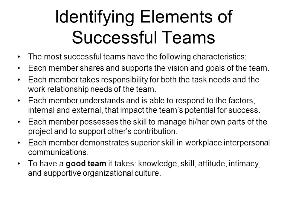 Identifying Elements of Successful Teams