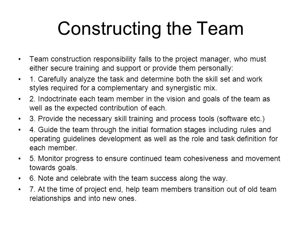 Constructing the Team