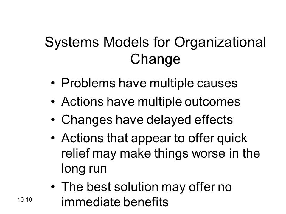 Systems Models for Organizational Change