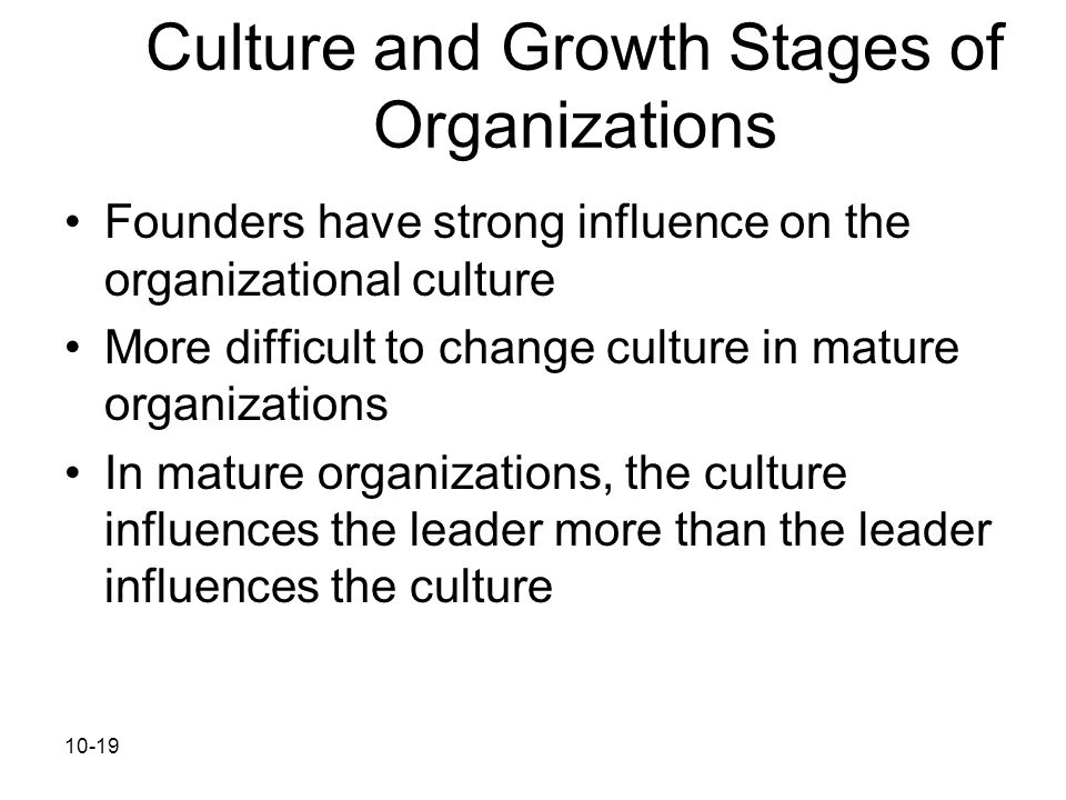 Culture and Growth Stages of Organizations