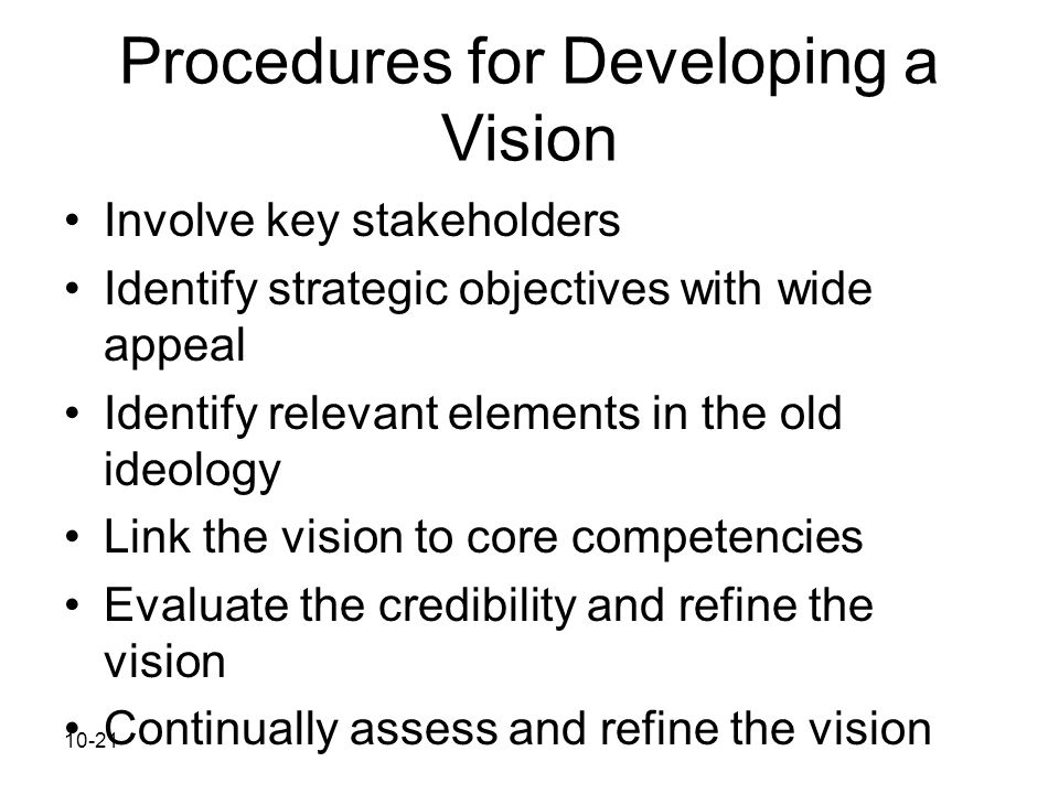 Procedures for Developing a Vision