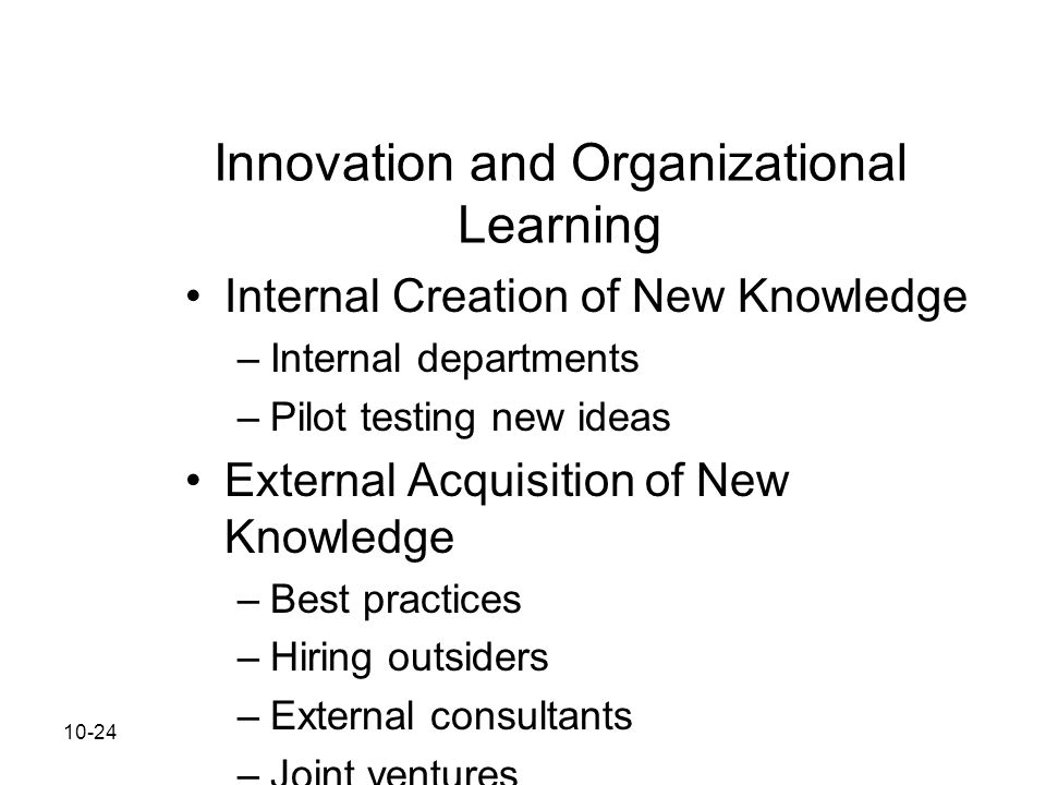 Innovation and Organizational Learning
