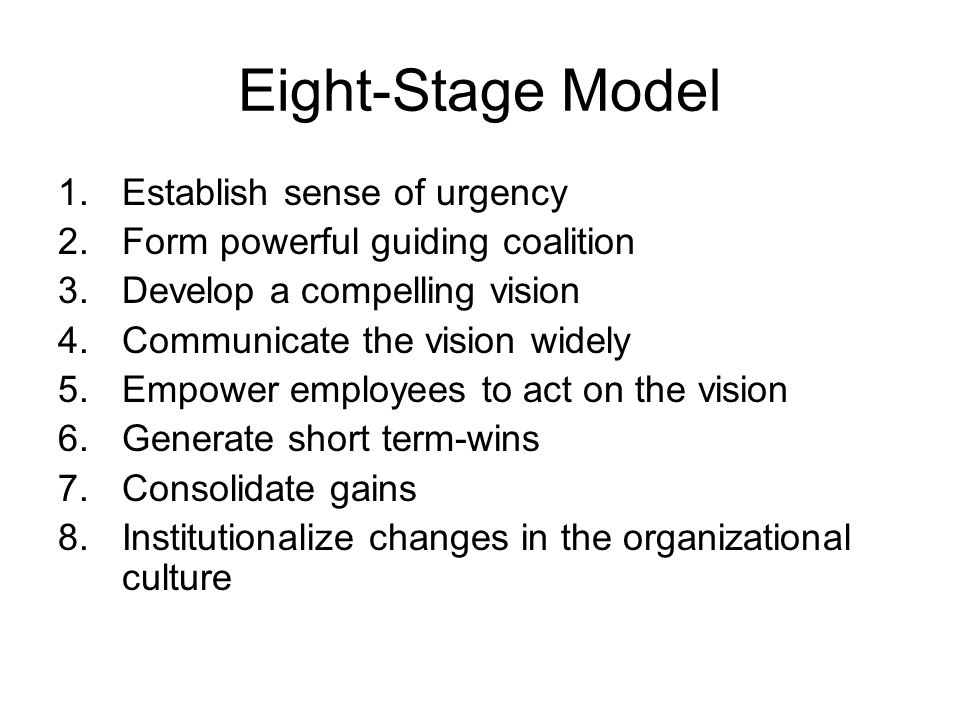 Eight-Stage Model Establish sense of urgency