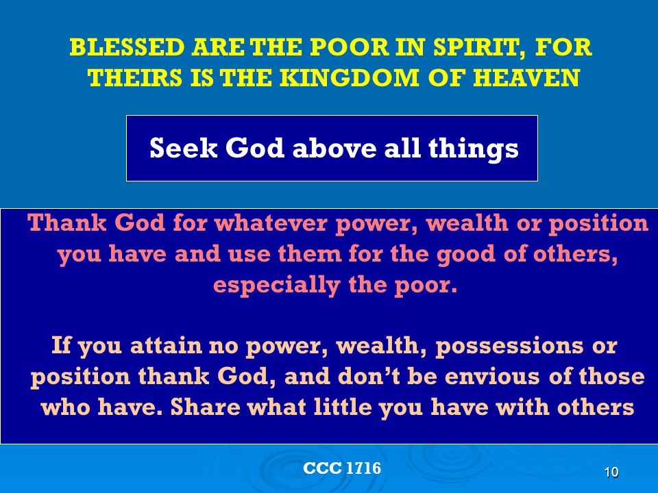 Seek God above all things