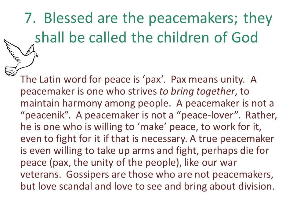 7. Blessed are the peacemakers; they shall be called the children of God