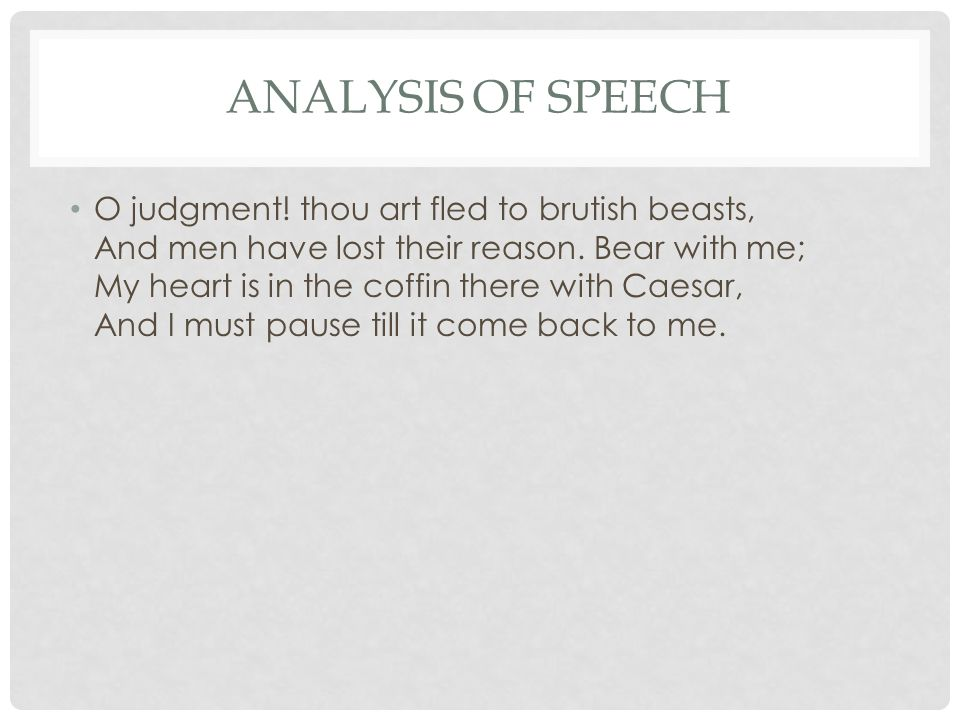 Analysis of Speech