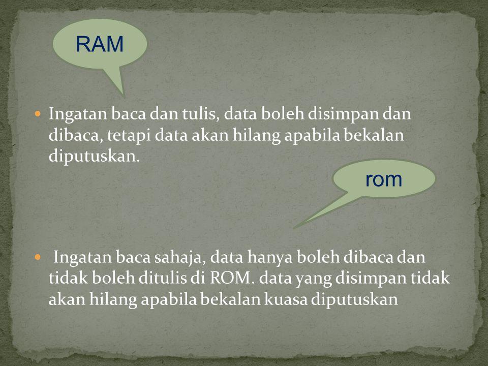 RAM Ingatan baca dan tulis, data boleh disimpan dan dibaca, tetapi data akan hilang apabila bekalan diputuskan.